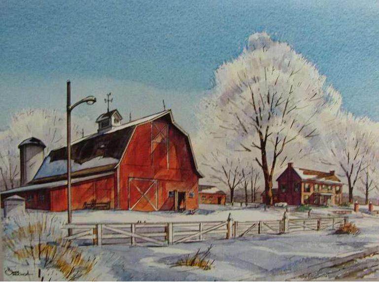 RED BARN ICE PRINT