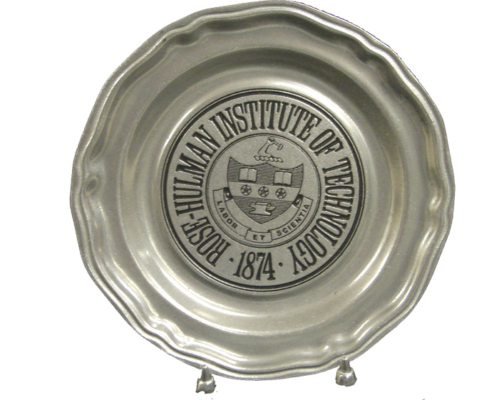 Carson Silver Plate with Rose-Hulman Seal and Stand
