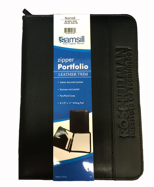 Samsill Black Zipper Portfolio