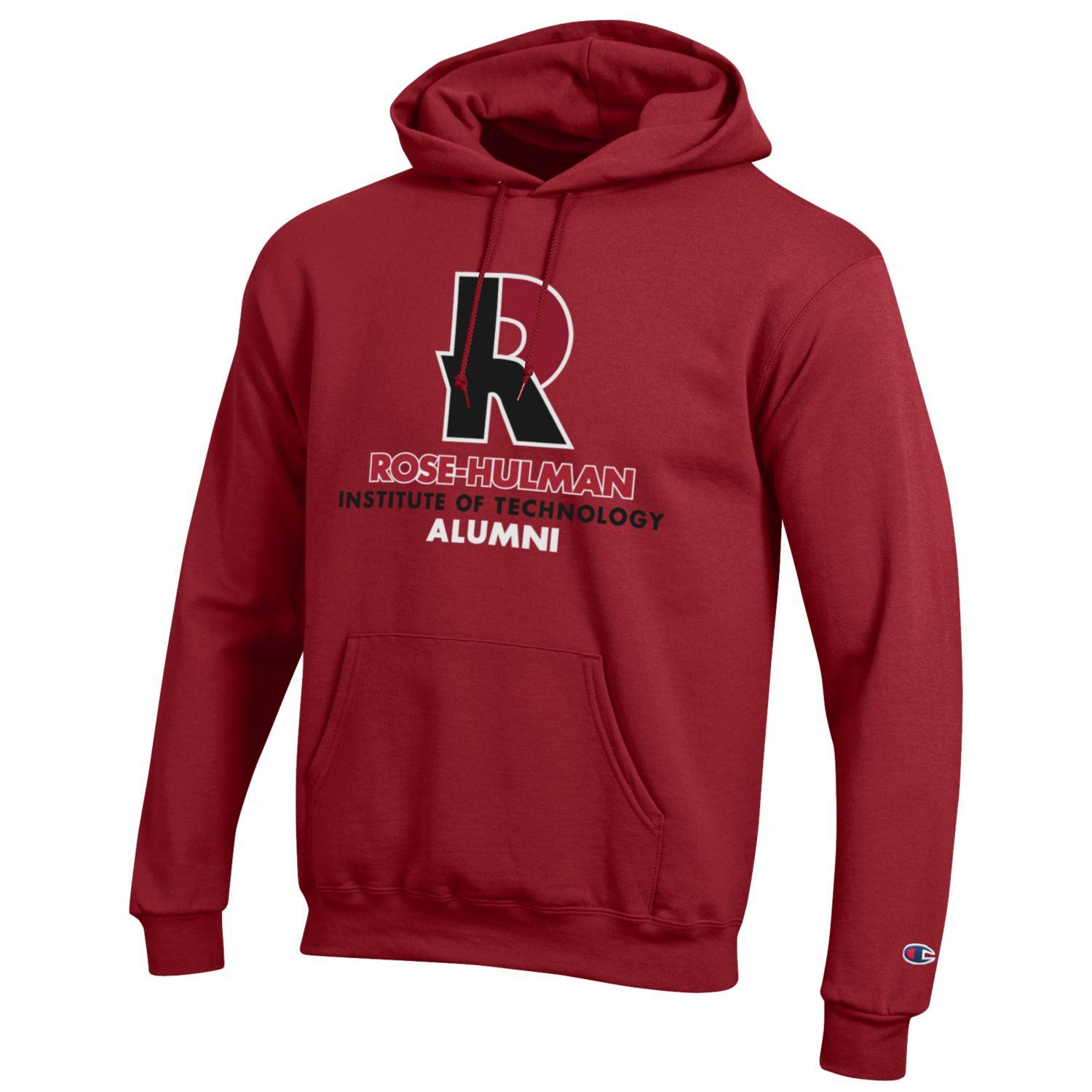 Champion Hooded Cardinal or Charcoal Sweatshirt for Alumni