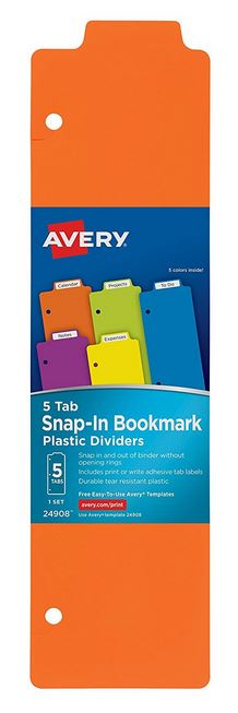 Avery Snap-In Plastic Bookmark Dividers (5 Pack)