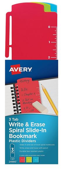 Avery Spiral Slide-In Plastic Bookmark Dividers (3 Pack)