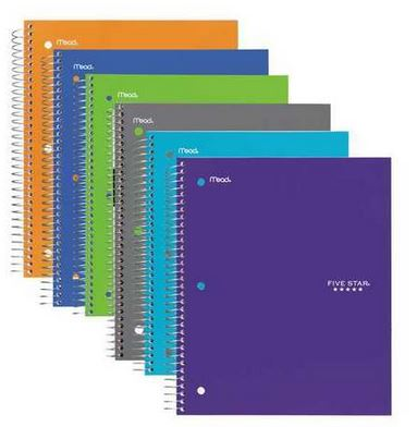 Five Star Five Subject Notebook, Assorted Colors