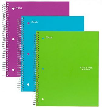 Five Star One Subject Notebook, Assorted Colors