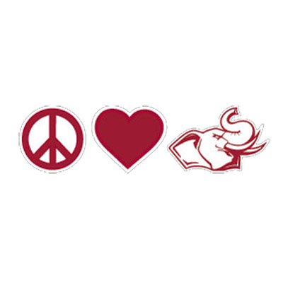 "Cover Image For SDS 2"" Peace Heart Elephant Decal"
