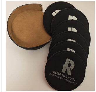 Cover Image For COASTERS 6 Black LEATHER